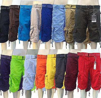 Mens Focus White Orange Khaki Red Cargo Shorts With Belt   Size 30 To 44