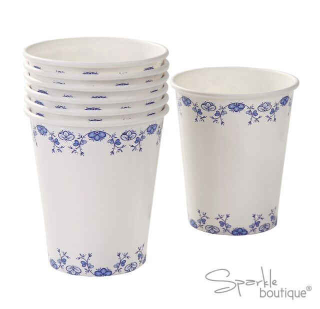 BLUE FLORAL PORCELAIN STYLE PAPER CUPS -Afternoon Tea Party- FULL RANGE IN SHOP!