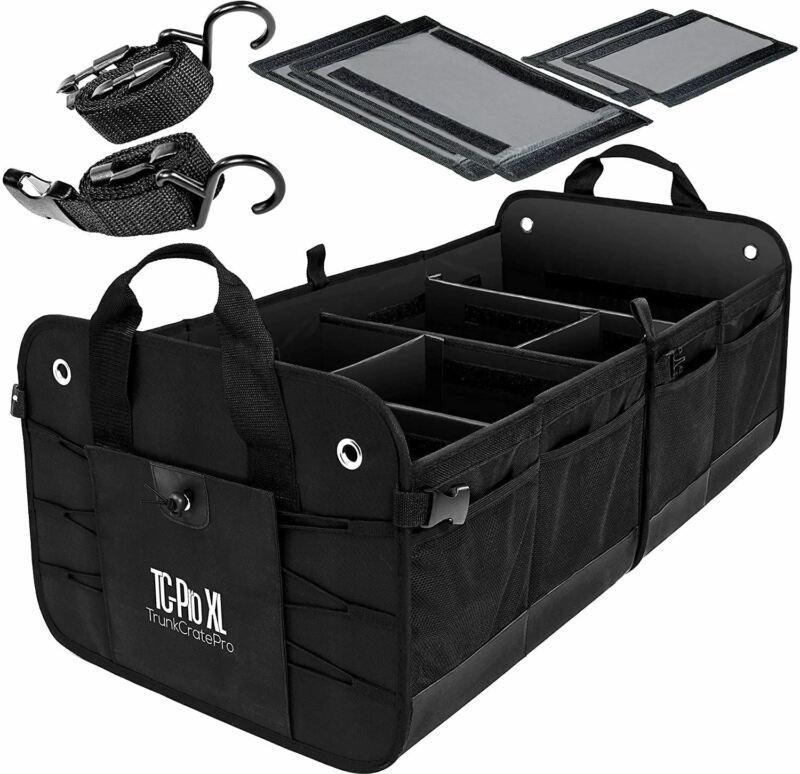 TRUNKCRATEPRO Premium Multi Compartments Collapsible Portable Trunk Organizer fo