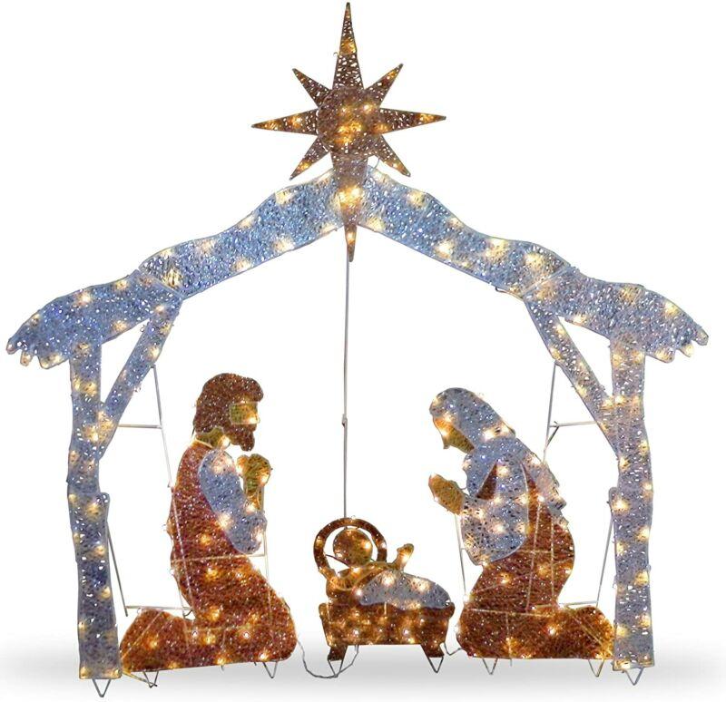"""National Tree Company 72"""" Crystal Nativity Christmas Product"""