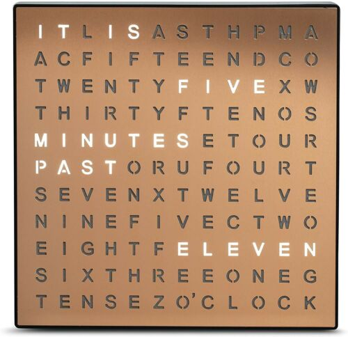 SHARPER IMAGE Light Up Electronic Word Clock, Copper Finish with LED Light