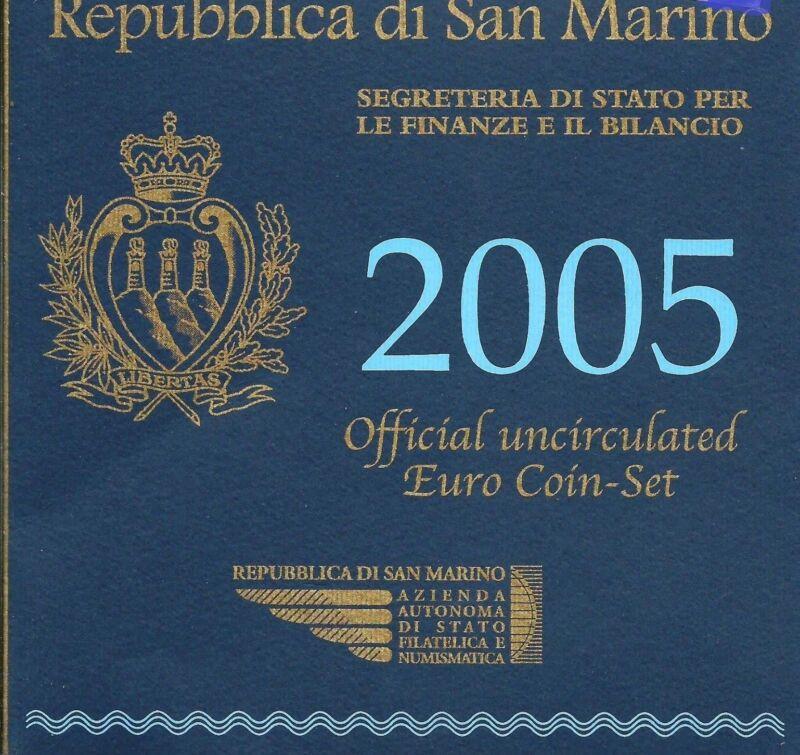 SAN MARINO 2005 OFFICIAL EURO SET OF 9 COINS