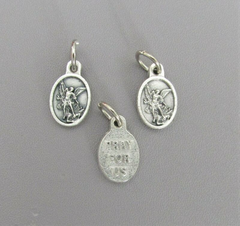 "Lot 3 St. Saint MICHAEL TINY .5"" Holy Medal Charms ITALY Rosary Bracelets M214"