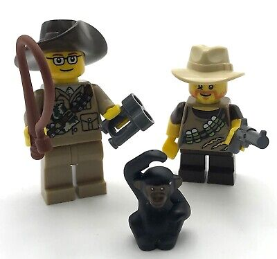 LEGO 2 NEW ADVENTURER ANIMAL CONTROL AFRICAN SAFARI MINIFIGURES WITH -