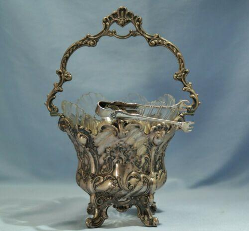 Art Nouveau German 800 Silver Repousse Handled Basket Cut Glass Lines Circa 1910