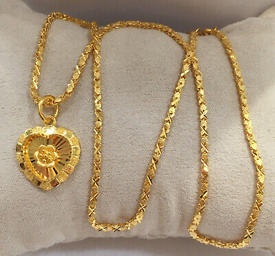 24k Solid Gold 18 Inches Necklace/ Chain With 3D Heart Shinny Pendant. 13.60 Gr