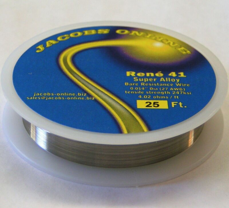 "Rene 41 resistance wire .014"" 27ga, 25 ft, superalloy ultimate hot wire cutting"