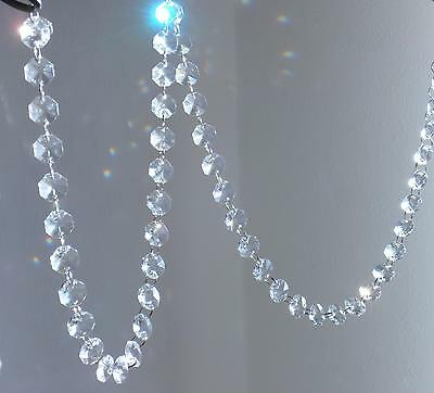 Chandelier Rainbow Lead Crystal Garland 50 drops approx 1mtr Length Silver Rings