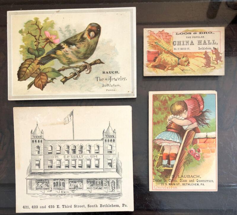 True Vintage Lot Victorian Advertising Trade Cards Bethlehem PA O'Reilly Rauch
