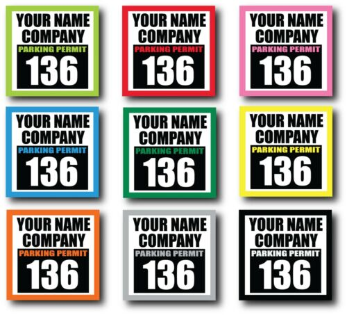 """2.8""""x3""""  Custom Parking Permit Decals qty 50 CLEAR / YOUR NAME / INSIDE WINDOW"""
