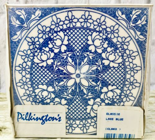 Vintage Pilkington's Classic Lace Blue Glazed Universal Ceramic Tiles Box Of 18