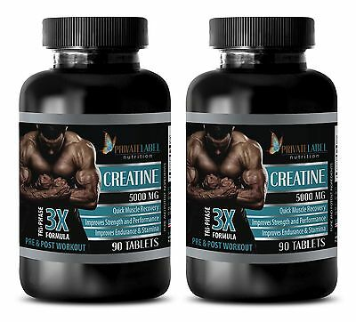 (Pure Creatine Monohydrate Powder 3X 5000mg HCL Weight Gainer 180 Pills 2 Bottles)
