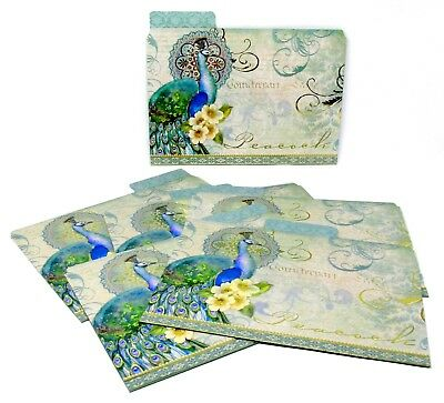 Punch Studio Set Of 6 Document File Folders Gold Foil Peacock Flourish 60709 12
