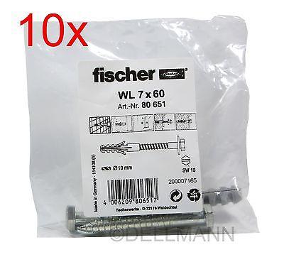 10x Fischer Sanitär-Befestigung WL 7x60 Artikel 80651 à2 Schrauben+Dübel 7 x 60
