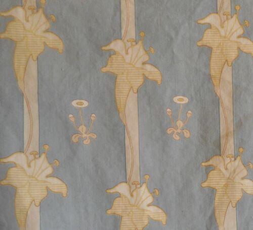 Antique French Art Nouveau Lily Floral Cotton Fabric  #2~ Blue Gray~