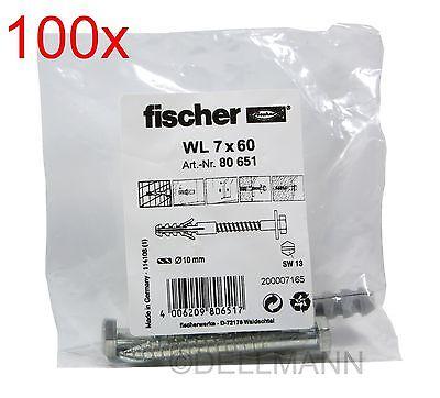100x Fischer Sanitär-Befestigung WL 7x60 Artikel 80651 à2 Schrauben+Dübel 7 x 60