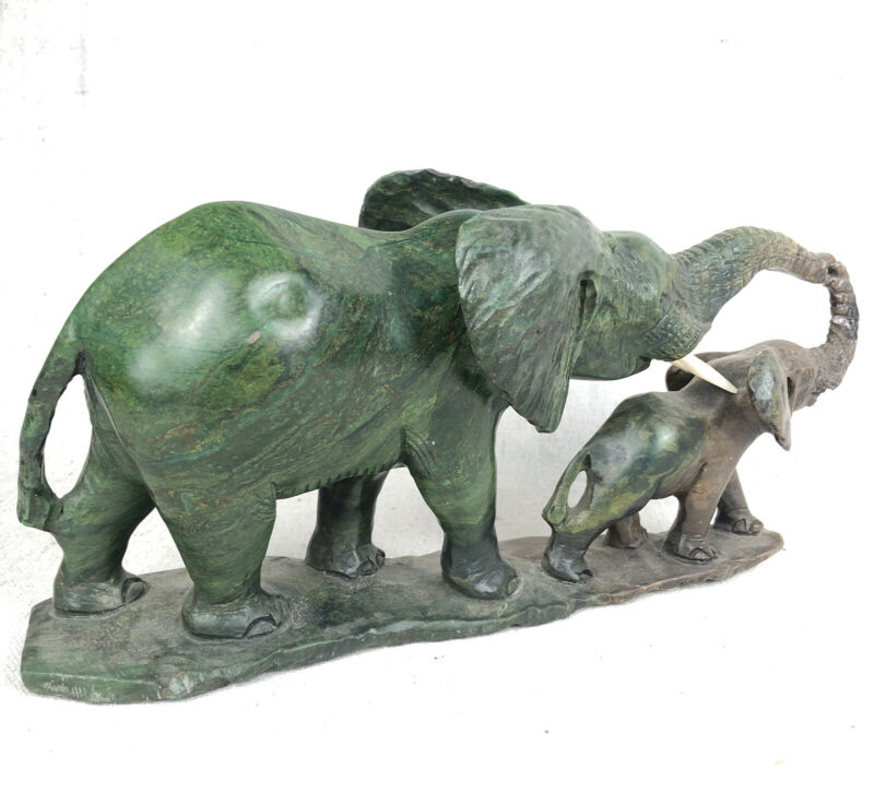 "Vintage 10"" Hand Carved Verdite Sculpture, Zimbabwe, Mother & Calf Elephants"