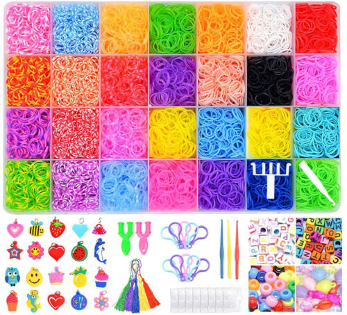 11,900 Rainbow Rubber Bands Refill Kit 28 Colors Making Girls Kids Bracelets