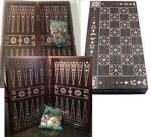 Yenigun Turkish Backgammon Set Game Case, Handmade Wood Board 15