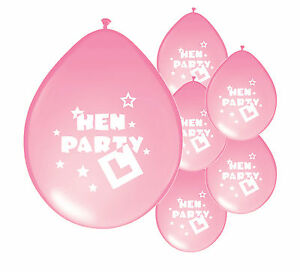 8 x HEN NIGHT LIGHT PINK BALLOONS HEN PARTY DECORATIONS (PA)