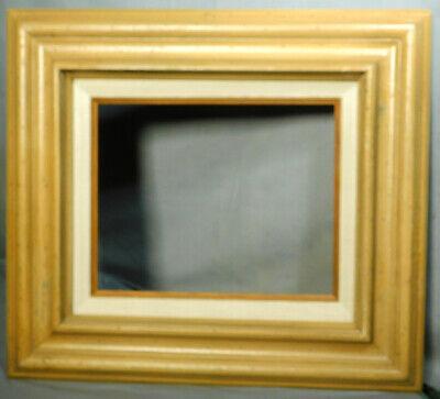 Vintage Modern Faux Wormy Chestnut Linen Picture Frame BAROQUE Modern 8x10 1968