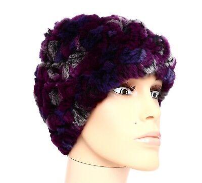 Dena Women's Purple Multi Color Genuine Rex Rabbit Fur Shawl / Hat 1010 $550 for sale  Charlotte