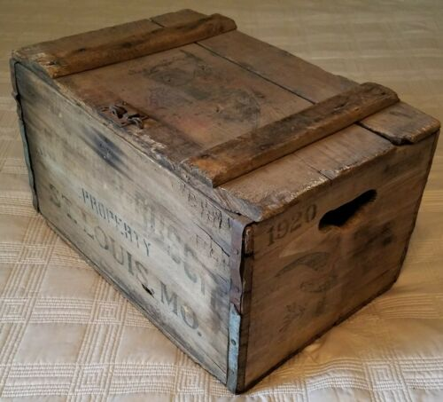 1920 Anheuser Busch BUDWEISER Beer Wood Crate Box Original Advertising Pre-Pro