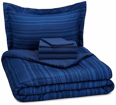 AmazonBasics 5-Piece Bed-In-A-Bag - Twin/Twin Extra Long, Bl