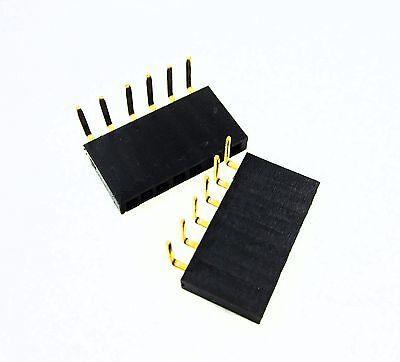 10pcs 1x6 Pin 2.54mm Right Angle Single Row Female Pin Header Connector