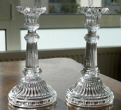 1 Paar antike Pressglas Kerzenleuchter Art Deco um 1930 !!!