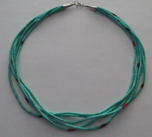 VTG MULTI 5-STRAND HEISHI BEAD NECKLACE STERLING SILVER CLASP FAUX TURQUOISE