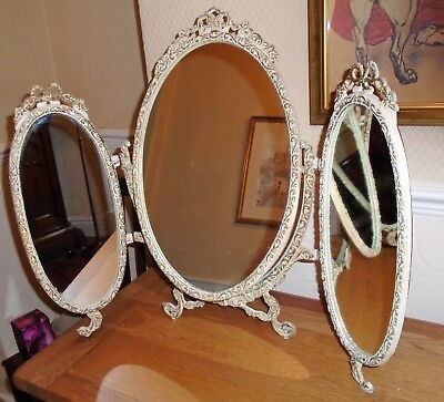 Original Vintage Shabby Chic Metal Framed Triple Dressing Table Mirror. Wirral