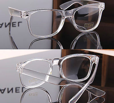 Clear Lens Acrylic Transparent  Square Frame Fashion Glasses Mens Women's