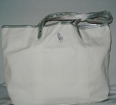 Ralph Lauren White Big Pony Canvas Large Tote Gym Bag Weekender Travel Bag NEW Big Handbag Tote