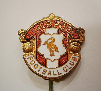 RARE FOOTBALL CLUB -LIVERPOOL- BADGE BRASS / ENAMEL SPORT TEAM PIN 1960's