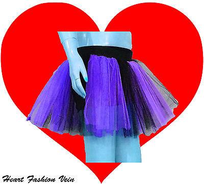 Purple Black 2 tone tutu skirt Teen Adult Dark Queen bat Dance Party Halloween - Dark Black Teens