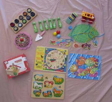 Wooden educational toddler/preschool toys and puzzles.