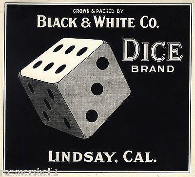 Used, Lindsay Black and White Co. Dice Orange Citrus Fruit Crate Label Print for sale  La Verne