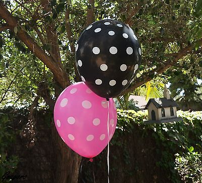 12 Black Pink Polka Dot Latex Balloons LADYBUG MINNIE MICKEY Party Supply Decor