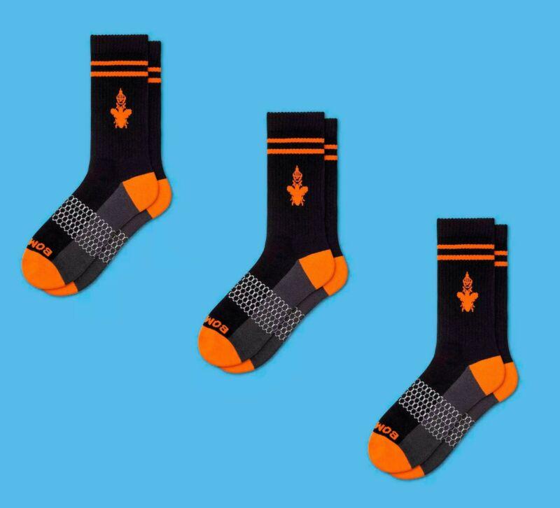 Bombas Men's Originals Calf Socks 3 Pack (Black/Orange Medium) 100% Authentic