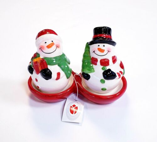 Delton Collectibles Ceramic Christmas Snowman Salt & Pepper Shakers With Tray