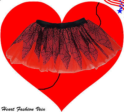 Spider Web Red tutu skirt Adult Ladybug Queen Costumes Dance Party Fun Halloween (Halloween Costumes Red Skirt)
