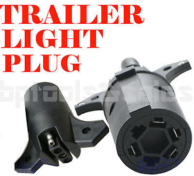 7 WAY TRAILER LIGHT ADAPTER PLUG CONNECTOR ROUND to 4 PIN FLAT RV BOAT 7 Way Flat Pin Trailer