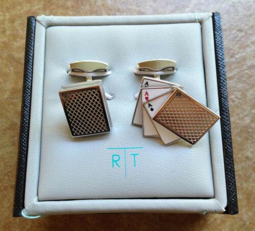 New Tateossian Rhodium Odd Pair Card Cufflinks
