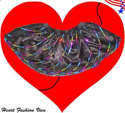 Black Multi Rainbow Sequin Twister tutu skirt Adult Party Fun Costume Halloween