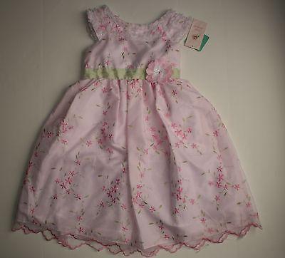 Neu Jona Michelle Boutique Kostüm Rosa Kleid Größe 6X Embordered Blumen