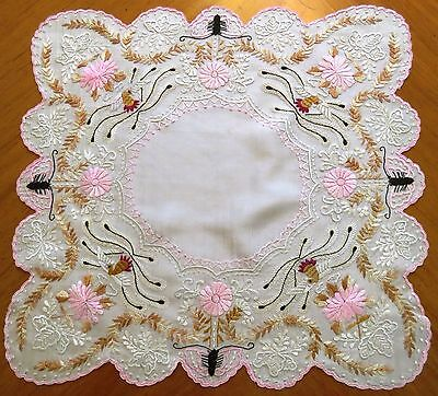 (Antique Embroidered Handkerchief Canton Embroidery Silk Hankie Asian Chinese )