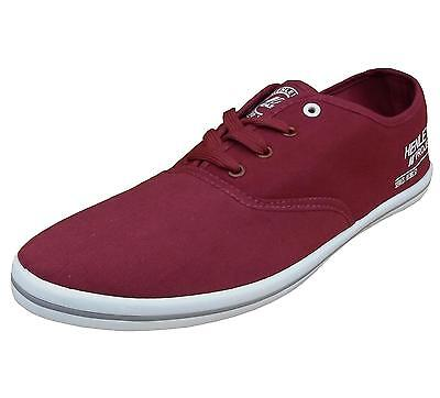 Henleys Charlie Mens Canvas Fashion Shoes Trainers Pumps Plimsoll rumba red