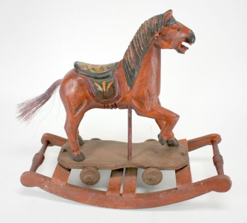 VINTAGE HAND MADE WOODEN ROCKING HORSE TOY