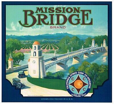 GENUINE RIVERSIDE COUNTY C1930 ORANGE CRATE LABEL MISSION BRIDGE RUBIDOUX CARS Mission Orange Label